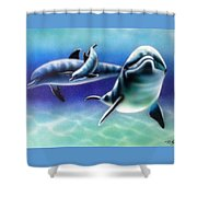 3 Dolphins Shower Curtain
