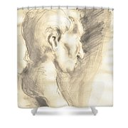 Drawing Of Ancient Sculpture Shower Curtain