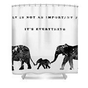 Elephant Family-black Shower Curtain
