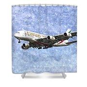 Emirates A380 Airbus Watercolour Shower Curtain