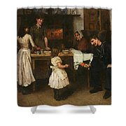 Family Scene In A Kitchen Shower Curtain