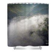 Fantastic Dreamy Sunrise On Foggy Mountains Shower Curtain
