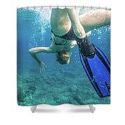 Female Snorkeling Shower Curtain