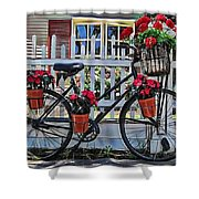 Flower Bike Collection Shower Curtain