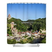 Fribourg Old Town In Switzerland Shower Curtain
