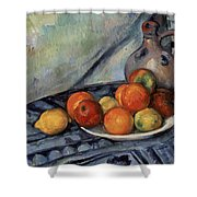 Fruit And A Jug On A Table Shower Curtain
