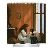 Girl At Sewing Machine Shower Curtain