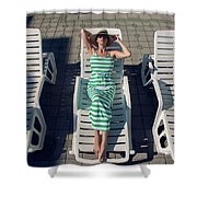 Girl Lies On A Chaise Longue In A Green Striped Dress Shower Curtain