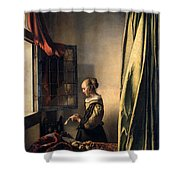 Girl Reading A Letter By An Open Window Shower Curtain