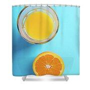 Glass Of Orange Juice And Half Of Orange Shower Curtain