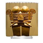 Golden Pre-columbian Figure Shower Curtain