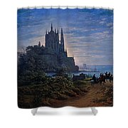 Gothic Church On A Rock By The Sea  Shower Curtain