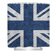 Great Britain Denim Flag Shower Curtain