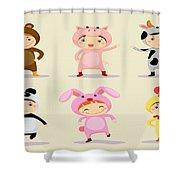 Happy Children  Shower Curtain