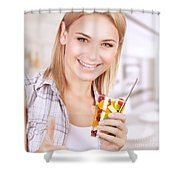 Healthy Eating Woman Shower Curtain