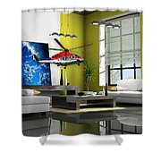 Helicopter Art Shower Curtain