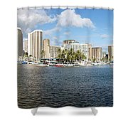 Honolulu Skyline Panorama Shower Curtain