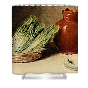 Hunt William Henry Still Life With A Jug A Cabbage In A Basket And A Gherkin William Henry Hunt Shower Curtain