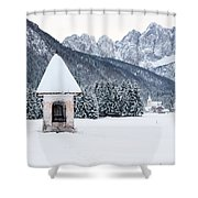 Idyllic Landscapes Immersed In The Snow. The Dream Of The Julian Alps And Valbruna Shower Curtain
