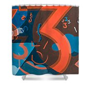 3 In Blue And Orange Shower Curtain by Break The Silhouette