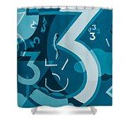 3 In Blue Shower Curtain by Break The Silhouette