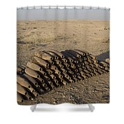 Inert Artillery Shells Are Stacked Shower Curtain by Terry Moore