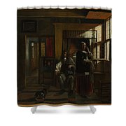 Interior With A Young Couple Shower Curtain