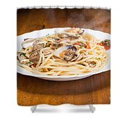Italian Spaghetti And Clams Made In Naples Shower Curtain