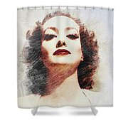 Joan Crawford, Vintage Actress Shower Curtain