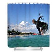 Kitesurfing Shower Curtain by Stelios Kleanthous