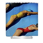 3 Lady Swimmers Shower Curtain