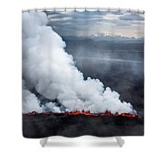 Lava And Plumes From The Holuhraun Shower Curtain