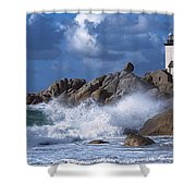 Lighthouse On The Coast, Pontusval Shower Curtain