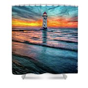Light House Sunset Shower Curtain