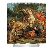 Lion Hunt Shower Curtain