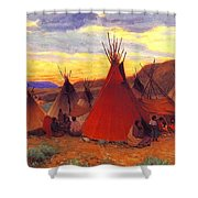 lrs Sharp Joseph Henry Evening Crow Reservation Joseph Henry Sharp Shower Curtain