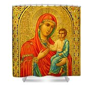 Madonna Enthroned Religious Art Shower Curtain