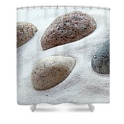 Meditation Stones On White Sand Shower Curtain