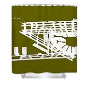 Mia Miami International Airport In Miami Florida Usa Runway Silh Shower Curtain