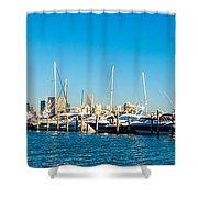 Miami Florida City Skyline Morning With Blue Sky Shower Curtain