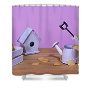 Miniature Gardening Kit With Pink Background Shower Curtain