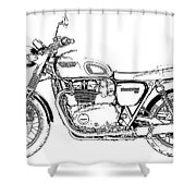 Motorcycle Art, Black And White Shower Curtain