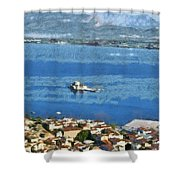 Nafplio Town And Bourtzi Fortress Shower Curtain