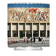 National Historical Museum Landmark And Mosaic Mural In Tirana A Shower Curtain