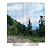 Natural Scenery With Mountains And Cloudy Sky. Shower Curtain