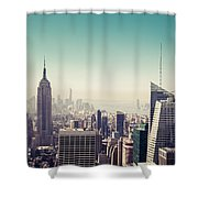 New York Manhattan Skyline At Sunset Shower Curtain
