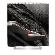 Nude Woman Lying On Rocks By The Water Shower Curtain