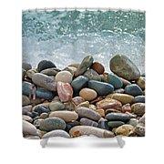 Ocean Stones Shower Curtain by Stelios Kleanthous