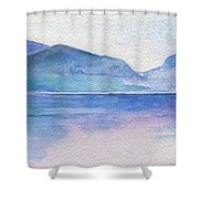 Ocean Watercolor Hand Painting Illustration. Shower Curtain