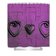 3 Of Hearts Shower Curtain